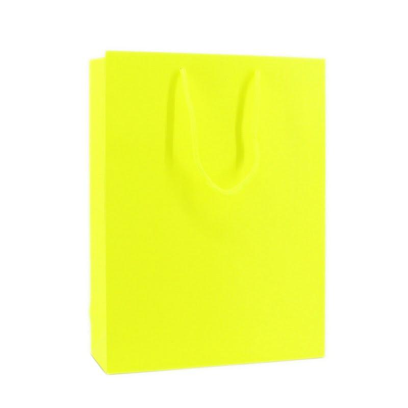 Fluor Papieren Tas - Geel